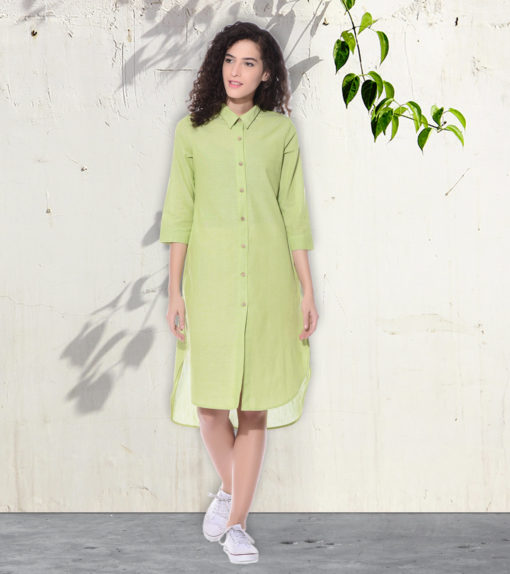 Lime green Shirt dress