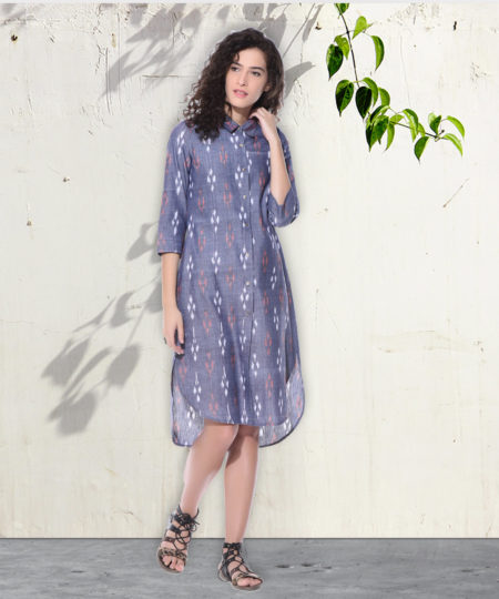 Light grey Ikat shirt dress