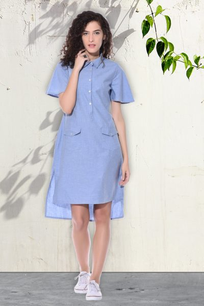 Denim blue shirt dress