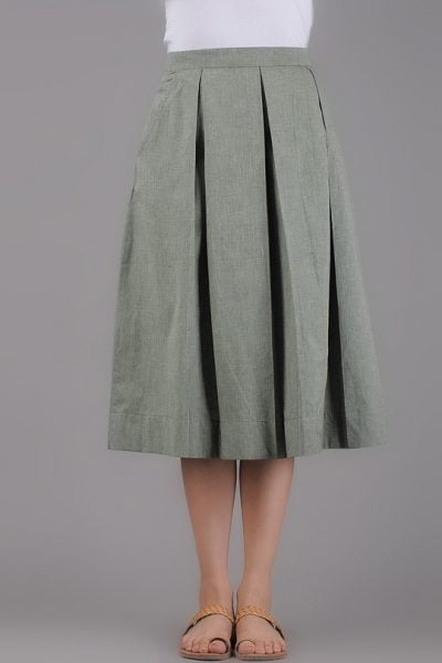 Khaki Box Pleate Skirt